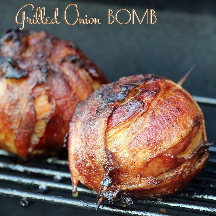Grilled Onion Bombs – it's a mini-meatloaf wrapped in an onion, wrapped up in bacon and cooked on the grill