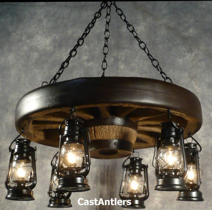 "Wagon Wheel Chandeliers : 30"" Hanging Lantern Reproduction Wagon Wheel Chandelier"