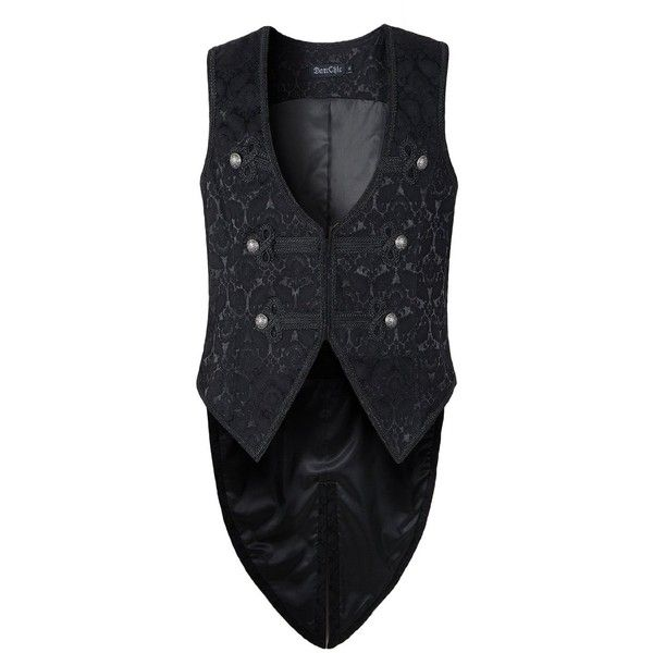 Mens Vest Waistcoat Tailcoat Black Damask Gothic Steampunk Victorian... ($59) ❤ liked on Polyvore featuring men's fashion, men's clothing, gothic mens clothing, mens clothing, mens apparel and goth mens clothing