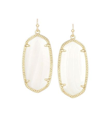 Kendra Scott Elle White Pearl Earrings 14K Gold Plated – Blue Daisy