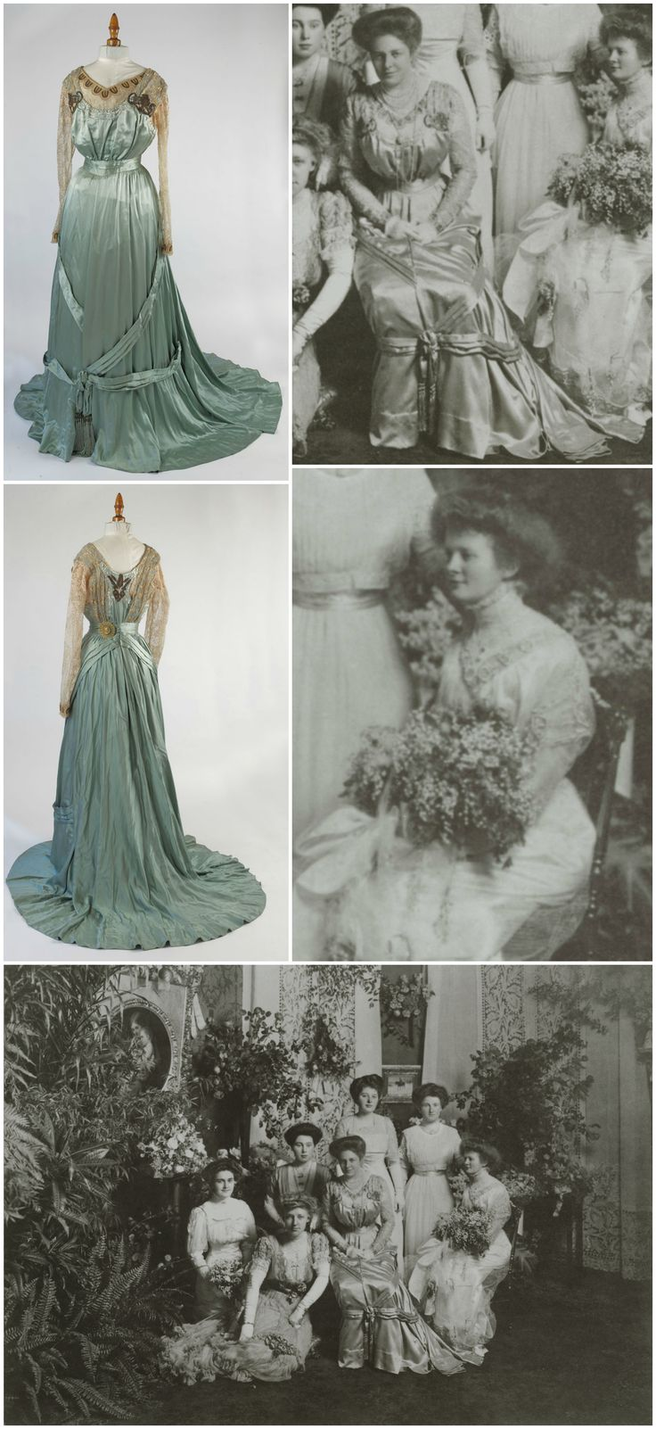 Miss Helen Frick's debut, December 16, 1908. While Miss Frick's debutante dress---white satin with white point d'esprit over it, trimmed with embroidered silver bands---did not survive, the gown worn by her mother, Mrs. Adelaide Frick, is still extant. Dress, Lichtenstein Cie Modes, Retailer, c. 1908. Mrs. Frick can be seen wearing the dress in a group photo taken at the party, which was held at Clayton, the Frick family's Pittsburgh residence.
