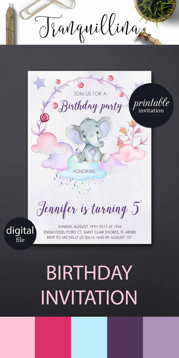 Girl Birthday Invitation PRINTABLE Elephant Invitations Pink Purple First Party Ideas