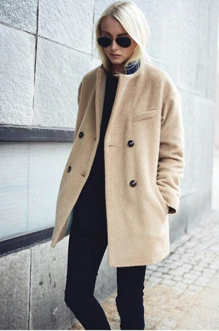 so simple and chic.  camel coat.