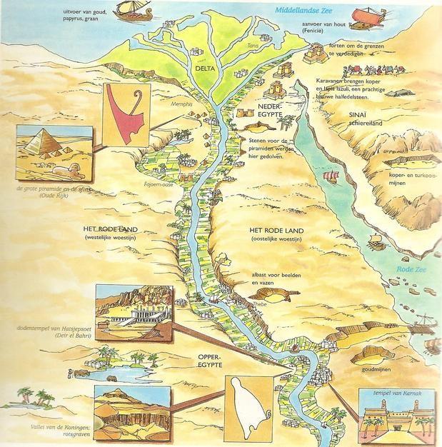 Bij les 1.2 en 1.7  info o.a.. over de Nijl en goden en samenleving