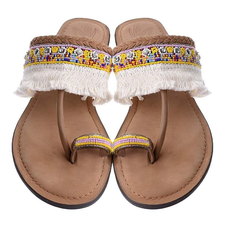 LEATHER MULTICOLOR SANDAL W/TASSELS - Sandals
