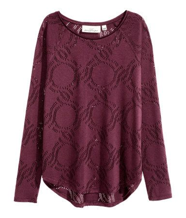 Shirt mit Lochmuster | Weinrot | Damen | H&M DE