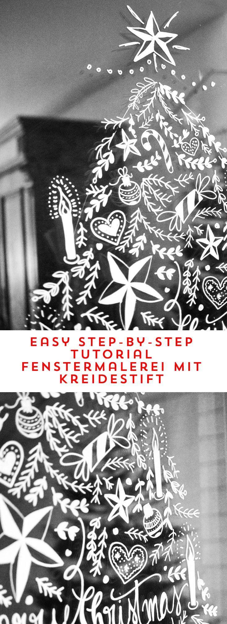 diy weihnachtliche fensterdeko mit kreidemaler, jeder kann malen, gefunden auf happyserendipity.com