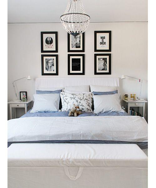 Calm bedroom, frames, bedside table