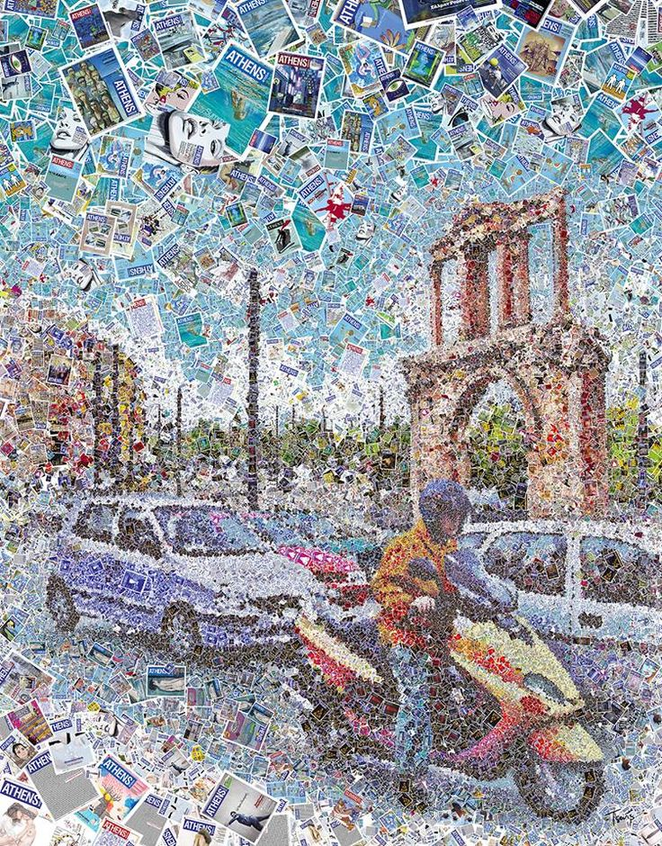 Artist: Charis Tsevis A mosaic illustration of a typical traffic moment in one of the main streets of downtown Athens, featuring the Hadrian's Gate. Created for he 500th cover of Athens Voice, the most popular free press newspaper of the Greek capital.