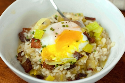 Bacon and Leek Risotto with Poached Eggs. Yes, I'll have this.