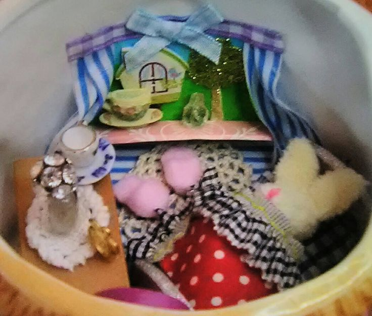 Bunny Rabbit House in a Teapot Easter Diorama Dollshouse Dolls House Doll FREE GIFT by TeenyTinyPocketWorld on Etsy
