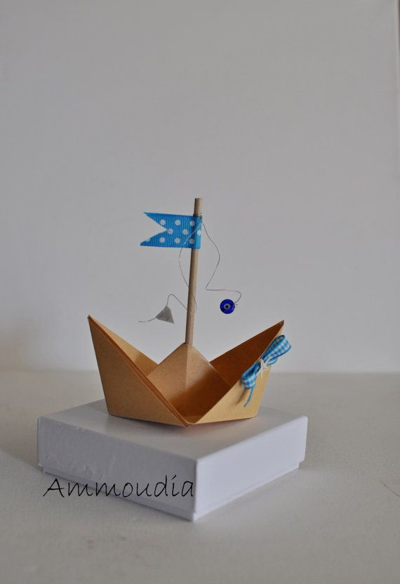 Beach wedding favorsorigami sailboat with ribbons evil by AMMOUDIA, $3.80