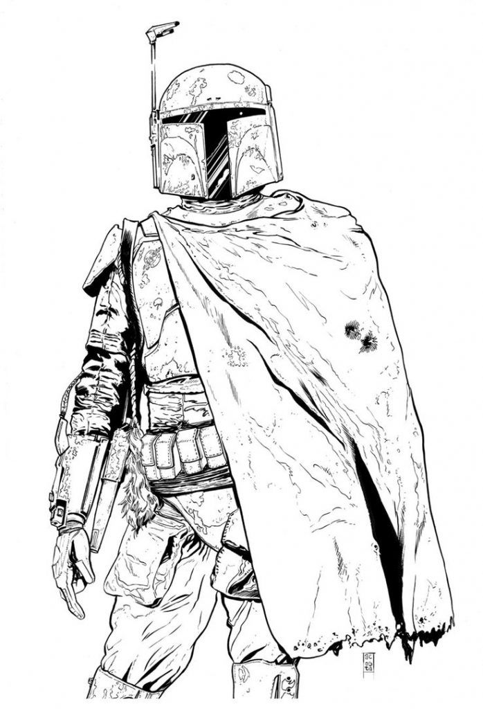 Boba Fett Coloring Pages Star wars art, Star wars boba