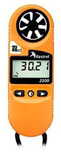 Kestrel 2500 Pocket Weather Meter / Digital Altimeter Thermometer Anemometer  Accurate, rugged handheld wind /airflow meter with large, replaceable impeller, responsive temperature sensor and digital pressure altimeter; optional night-vision-preserving backlight  Measures and displays barometric pressure & 3-hour pressure trend, altitude, wind chill, air/water/snow temperature, current/average/maximum wind speeds on large, clear LCD  Waterproof (IP-67), floats, drop-tested to military…