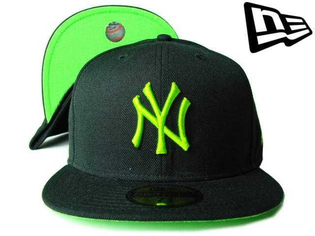 """【ニューエラ】【NEW ERA】59FIFTY カラーアンダーバイザー  NEW YORK YANKEES """"NY"""" ブラックXライムグリーン【ニューヨーク・ヤンキース】【5950】【newera】【帽子】【NYC】【イチロー】【キャップ】【NY】【cap】【黒】【black】【蛍光カラー】【green】【あす楽】【楽天市場】"""