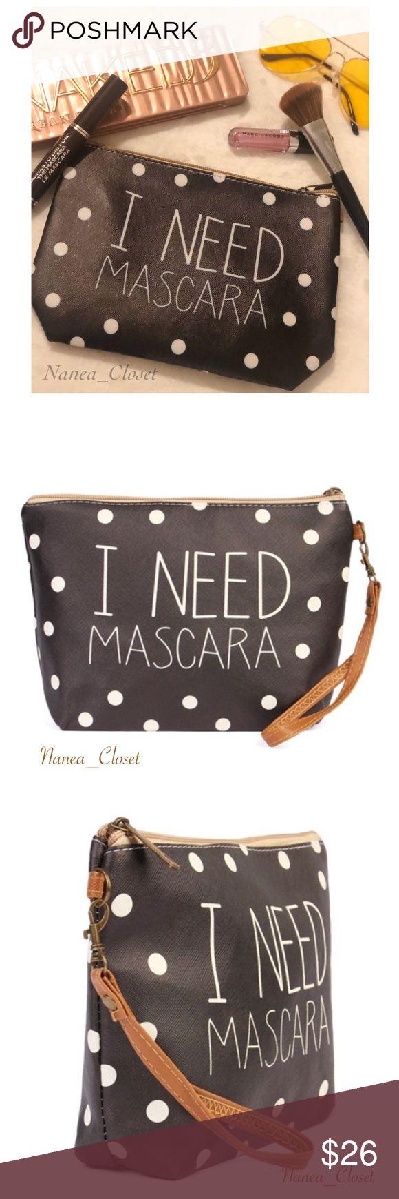 "Cosmetic Bag ""I Need Mascara"" Polka Dot Boutique Bags"