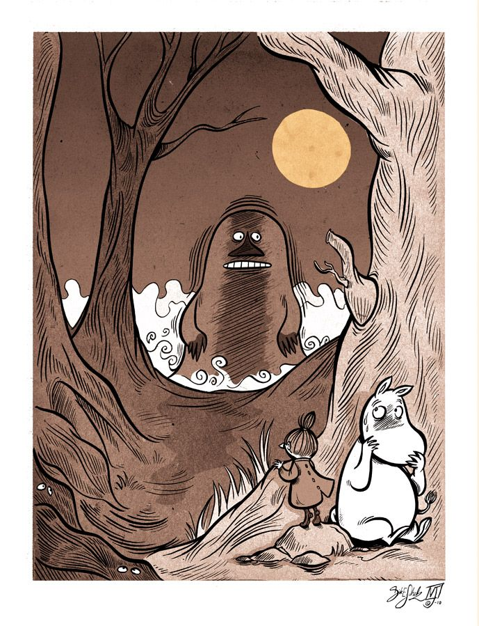 The Groke, Little My, and Moomin