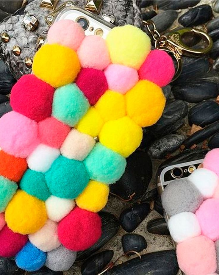 Plush Ball iPhone Case - Handmade - Gift idea for girlfriend - This phone case is pure handmade with colorful plush ball, every phone case is made with collocation of inspiration. The perfect gift for girlfriend! - $6.95