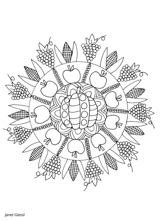 thanksgiving mandala coloring pages - 161 best coloring fruit vegetable images on pinterest