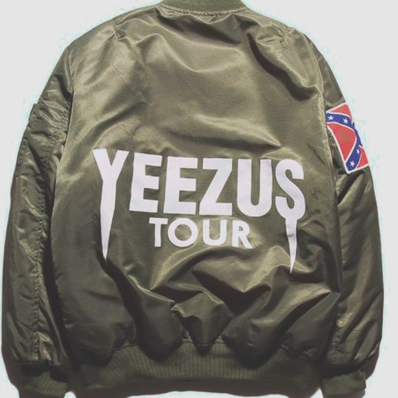 🌜sold🌛Yeezus tour MA1 aviator bomber jacket Custom made with logo! Fits men small or womans large. I bought it to wear it oversized and baggy but I decided I wanted black and not khaki! Brand new!! Make me an offer♥️♥️ Jackets & Coats Utility Jackets