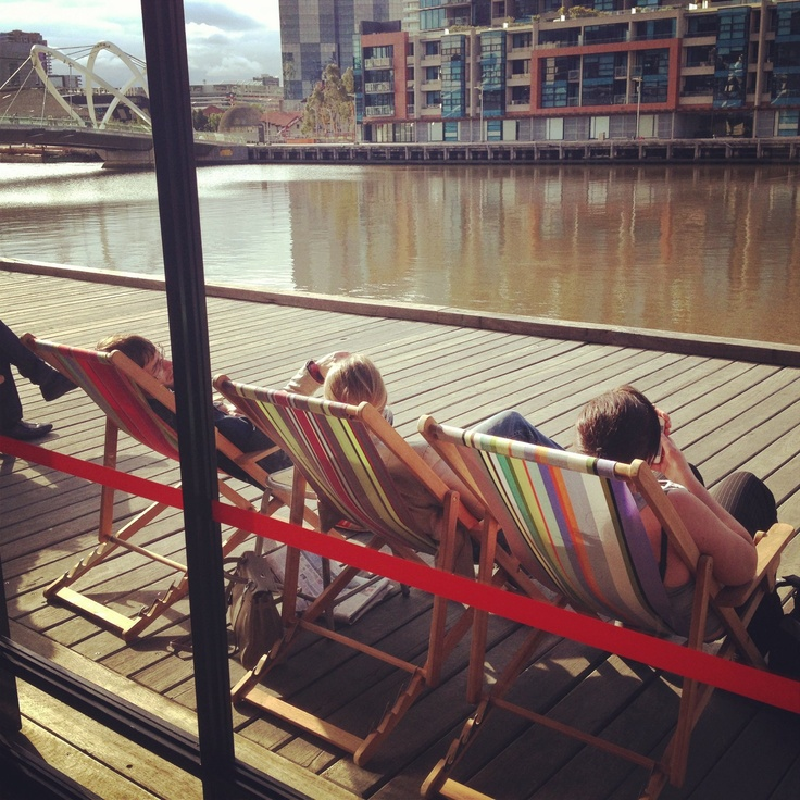 Deck chairs on the #yarra at The Boatbuilders Yard #swpromenade #melbourne #pub
