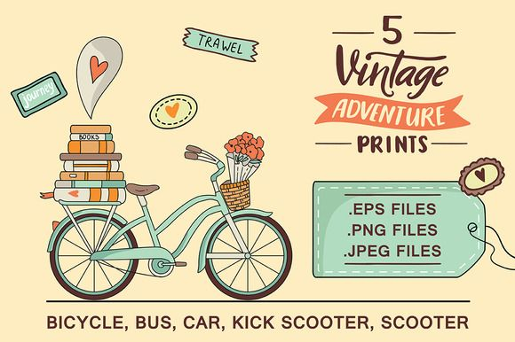 5 ADVENTURE prints by Maria Galybina on @creativemarket bicycle, lettering, travel