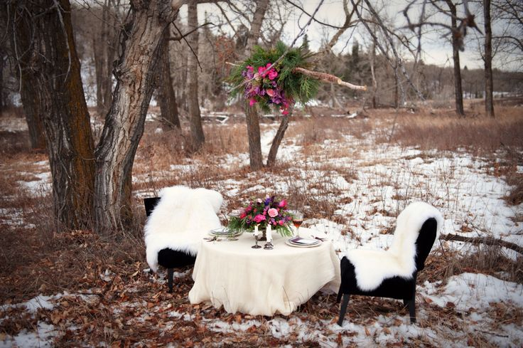 Winter Wedding Inspiration with suspended floral arrangement, tea and fur! Happy December! Photo by @tarawhitphoto Styling by @karamelwood Stationary by @modernpulp   #calgaryweddingflorist #winterweddingflowers #winterweddinginspiration #Banffweddingflorist http://flowersbyjanie.com/blog/flowers-by-janie-calgary-wedding-florist/woodland-elegance-in-fish-creek-park-flowers-by-janie-calgary-wedding-florist