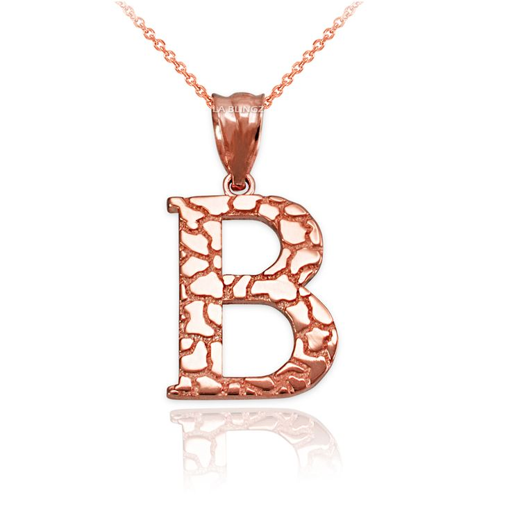LA BLINGZ 10K Rose Gold Nugget Initial Letter J Necklace
