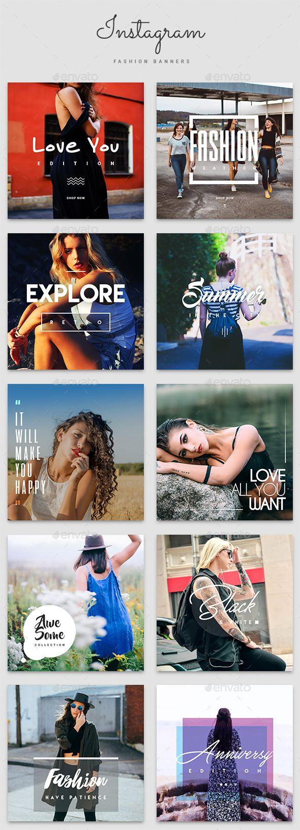 Instagram Fashion Banner Templates  — PSD Template #sale #web boxes • Download ➝…