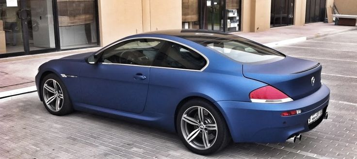 BMW E63 650 with vinyl film matte blue