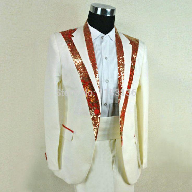 Купить Жених костюм свадебное платье мужская одежда красный белый комплект…