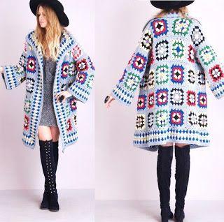 Crochet patterns: Granny Square Fall Coat Photo Tutorial