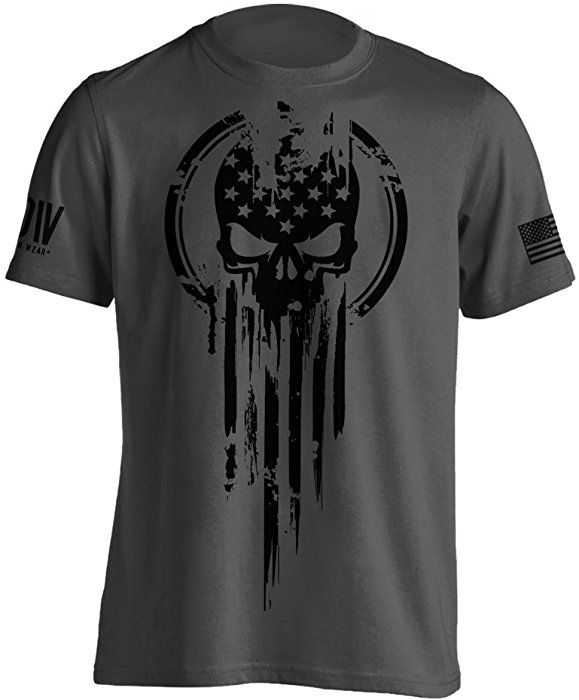 7e2f354a270 Amazon.com: Dion Wear American Warrior Flag Skull Military T-Shirt Small  Brown Savana: Clothing
