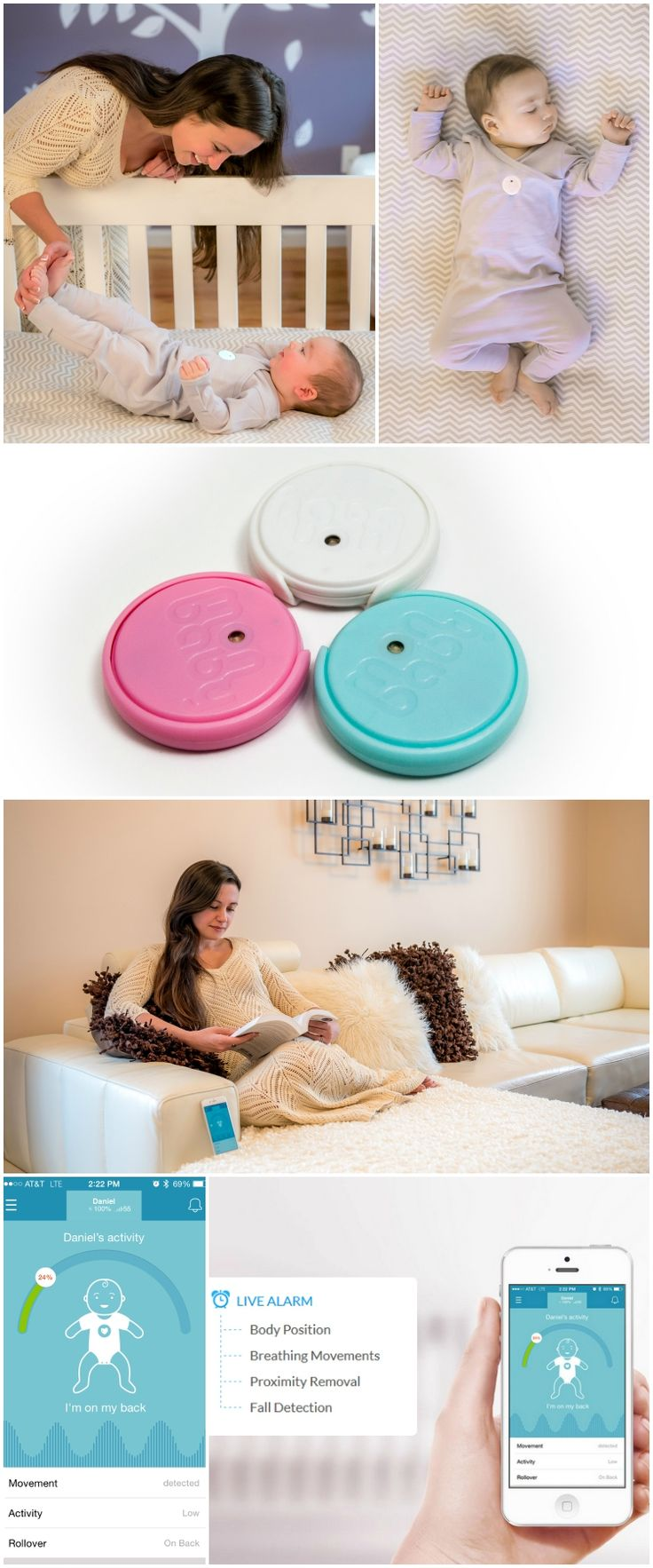 MonBaby gives new moms and dads peace of mind and helps them sleep better knowing they will receive an audible alarm if the baby rolls onto his or her stomach or stops breathing.