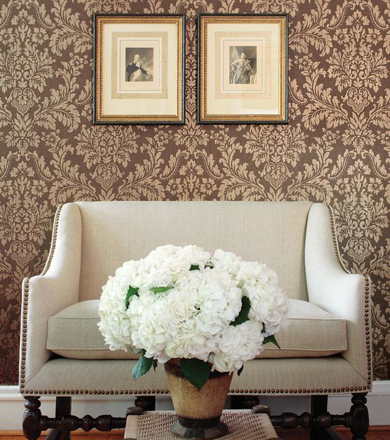 Best Damask Wallpapered Rooms Images On Pinterest Damask - Damask living room furniture