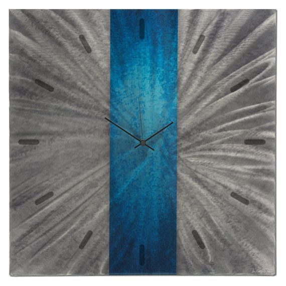 Modern Wall Clock Decor  'Blue Stripe Clock' 22x22 by ModernCrowd