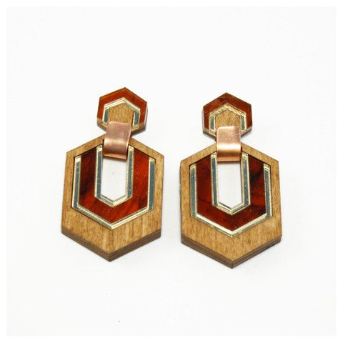Hex Earrings in Wood with Gold/Tortoiseshell. By Wolf & Moon.