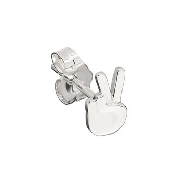 Peace sign emoji stud earring in sterling silver.