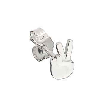 Peace Sign Emoji Stud Earring from WendyB (Wendy Brandes) in sterling silver - made in America.