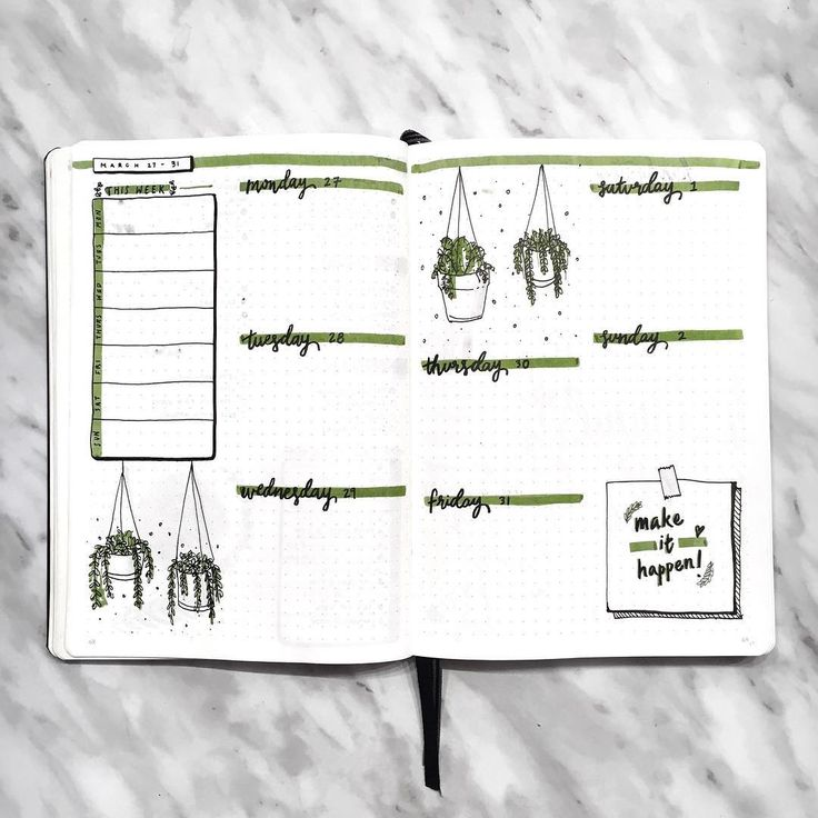Amanda Rach Doodles - Weekly Log / Week planner / Bullet Journal / Plant