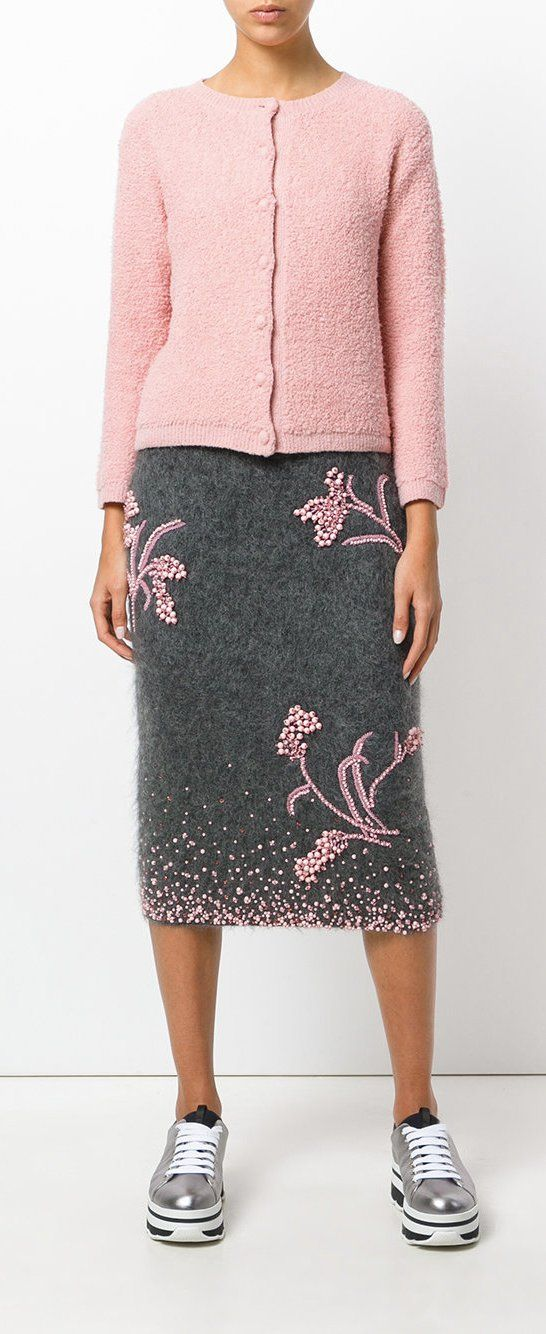 PRADA embroidered knitted skirt, explore Prada on Farfetch now.
