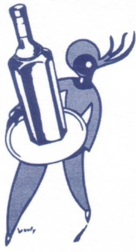 Logo Cristal Anis Limiñana réalisé par Brouty : serveur portant un plateau bleu et blanc