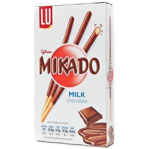 Mikado milk, Pocky, Japan, for UK marked produced by Mondelez International.