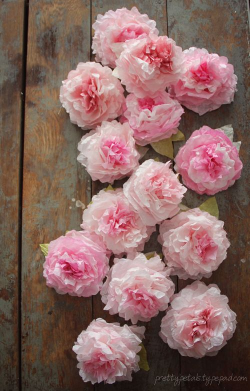 coffeefilter peonies. so pretty for a #babyshower or #wedding. make a #garland or add a stem and create bouquets.