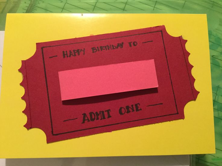 """Hope this just the #ticket for a simple #birthday #card #papercraft . . . . . Approx #3x5"""" #stub in #cherrycobbler #cardstock from #stampinup. #Scallop #borderpunch for #ticketstub ends. 16mm (5/8"""") #circlepunch for corners. 1mm and 13mm #sookwangtape for #adhesive. #handlettering #handlettered using small #permanent #lumocolor. A #Tickettear border #punch from #Su! would have been perfect for this #birthdaycard!"""