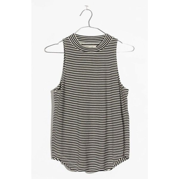 Women's Madewell Arya Mock Neck Tank ($42) ❤ liked on Polyvore featuring tops, true black, stripe top, madewell tank, striped tank top, striped top and mock neck tank top