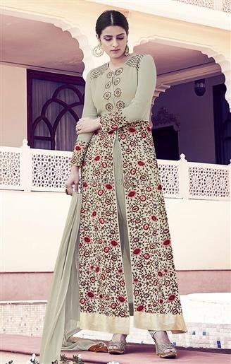 Graceful grey embroidered neck and sleeves georgette party wear salwar kameez  #DesignerDress #DesignerStyles #DesignerCollections #TrendyDress #Amazing #PartyDress #Attractive #Embroidered #Best #Awesome #Modern #FashionWear #StylishDress