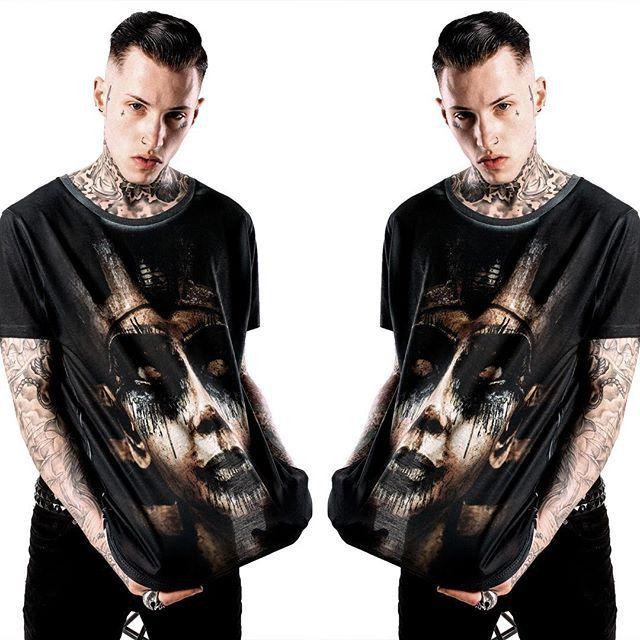 """Damned In Black"" Tee available at www.crmc-clothing.co.uk | WE SHIP WORLDWIDE Models - Ryan Davieshall Photography - JT Photography #summer2016 #pharaoh #summer #corpsepaint #ancientegypt #altfashion #alternative #instafashion #fashionstatement #fashiongram #fashionista #instastyle #stylegram #pharaohs #menwithtattoos #blackmetal #alloverprint #styles #style #alternativeguy #alternativegirl #alternativeteen #instagrammers #instafamous #igers #love #instagood #ryandavieshall #tattooedmen"