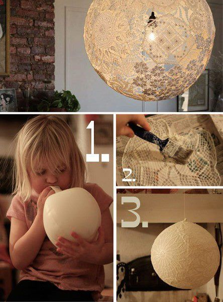 potete realizzare dei romanticosi lampadari utilizzando colla vinilica e dei palloncini per dargli la forma, ricordatevi di lasciare un buco in alto per far passare la struttura del paralume.