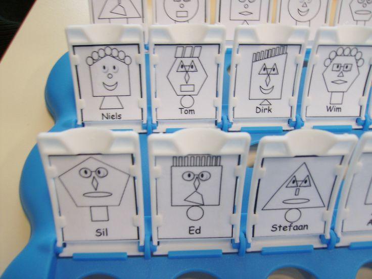 """WIE IS HET? Vlakke figuren. De kinderen stellen ja-nee vragen om een personage te zoeken. Ze mogen enkel vragen stellen over de vlakke figuren waaruit de personen bestaan. Bijvoorbeeld: """"Heeft zijn hoofd de vorm van een trapezium?"""" Ze kunnen ook naar de eigenschappen van zijden en hoeken vragen: """"heeft het hoofd 5 hoeken?""""."""